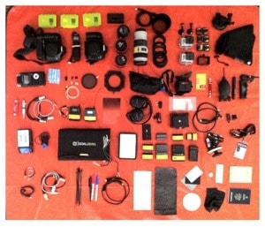 Here is all the gear spread out that lived in ThinkTanks backpack on my trip to film in Peru.