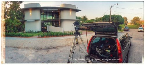 Setting my car up as my work station, while photographing architecture
