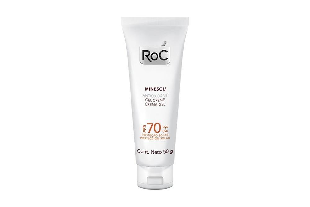 Antioxidante Roc com fator de proteção solar 70, para prevenir o fotoenvelhecimento. Ótimo entre os antioxidantes.