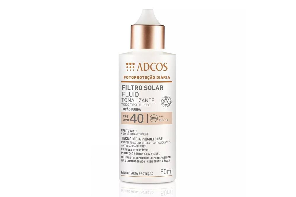 Protetor solar é um importante dermocosméticos para mulheres depois dos 30, esse é o Filtro Fluid Tonalizante da ADCOS
