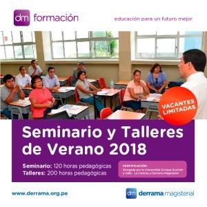 Seminarios y Talleres Pedagógicos Especializados para el verano 2018