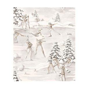 Tissu-noel-snow-taupe-thevenon