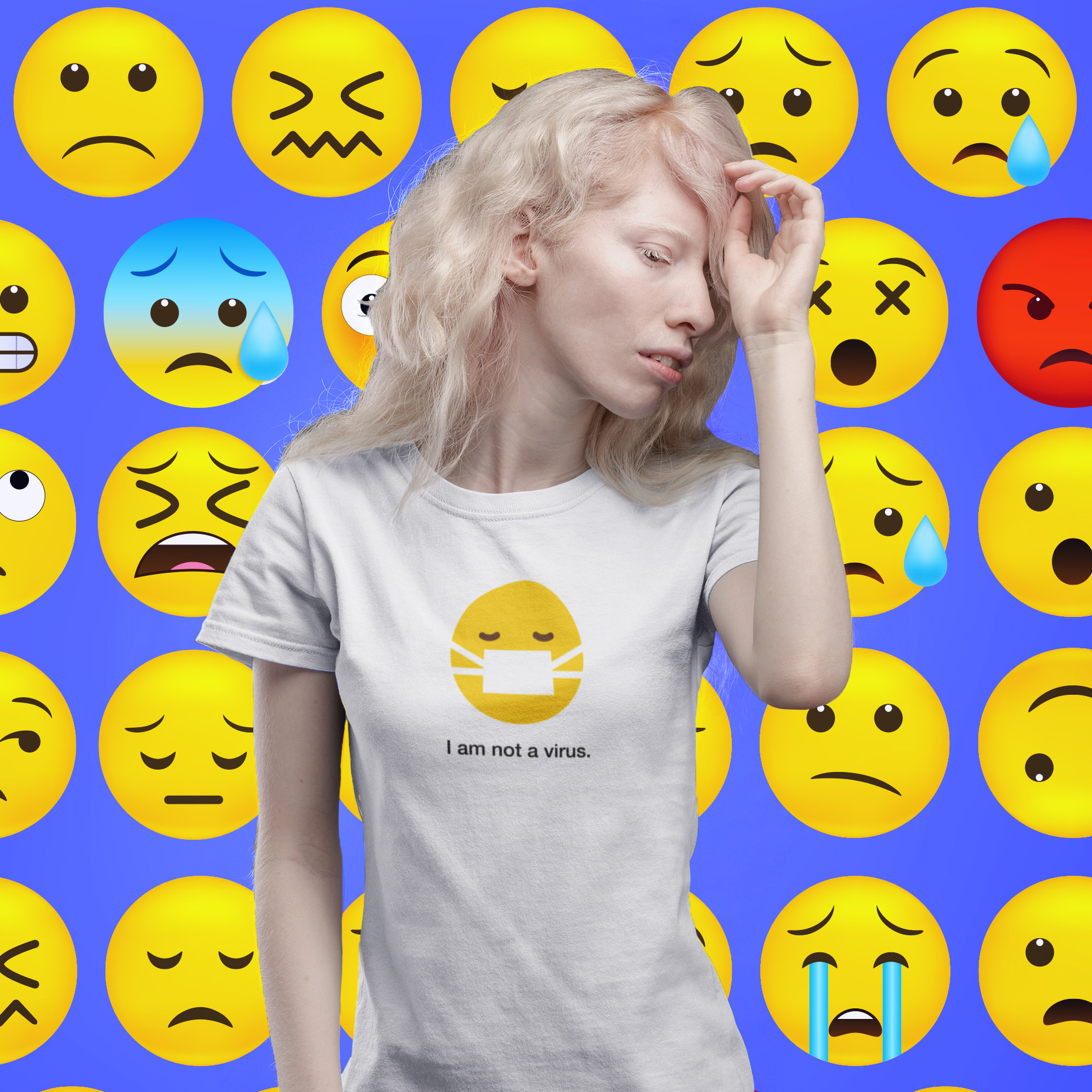 I am not a virus emoji t-shirt on designhero.shop