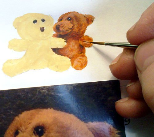 Teddy watercolour miniature