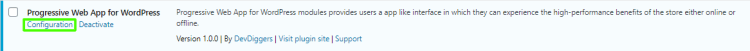 Configuration click below Progressive Web App plugin listing in plugins page