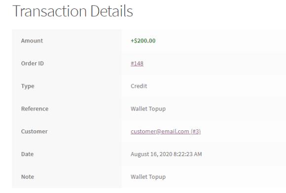 Customer transaction details