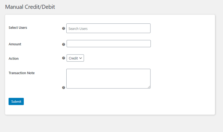 WooCommerce Wallet Management - Manual credit/debit
