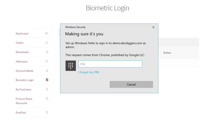 WooCommerce Biometric Login add biometric detail