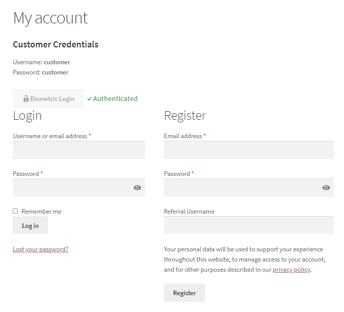 WooCommerce Biometric Login authenticated