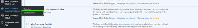 WooCommerce Customer Tracking menu hover