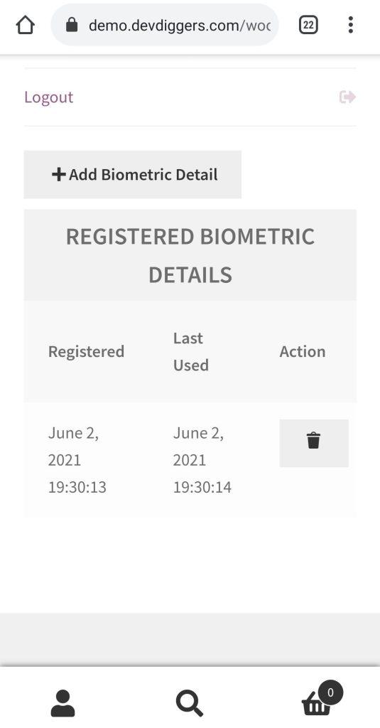 WooCommerce Biometric Login authenticated added