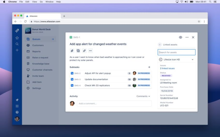 Screenshot of Jira showing linked assets panel on the right-hand side of the screen.