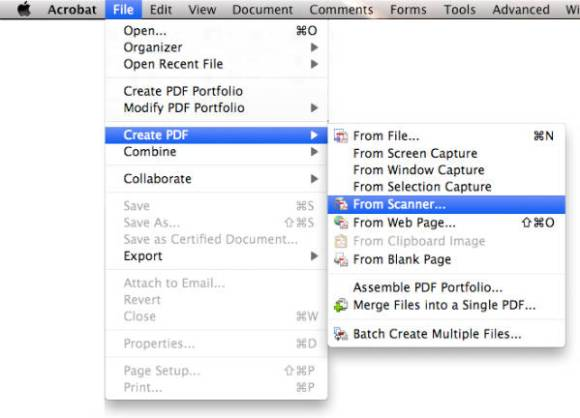 Create PDF from scanner