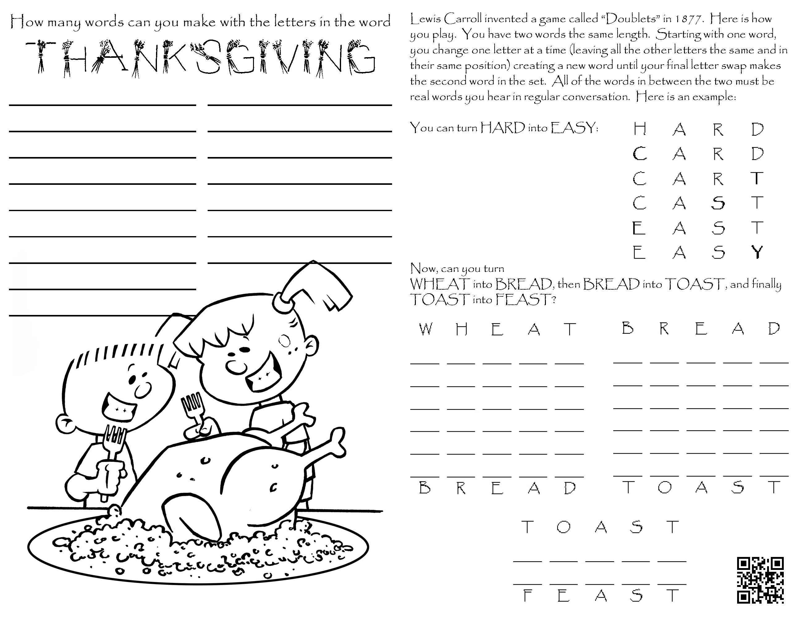 4th Grade Reading Worksheet For Thanksgiving