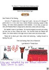 West Blocton Elementary School Flat Stanley Letter