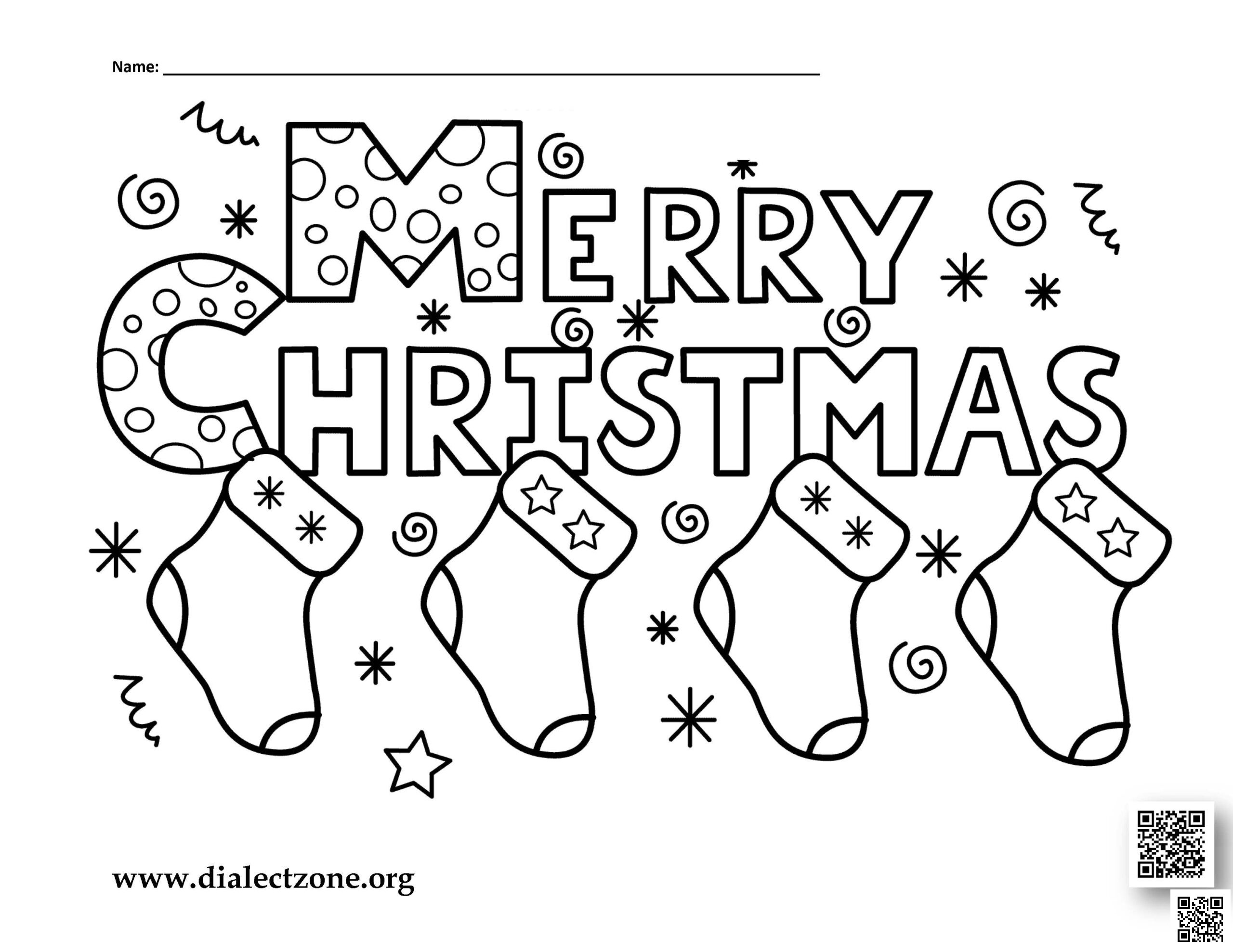 Merry Christmas – Christmas Coloring Page