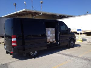 FORKS Tour Van at Loading Dock in Columbus with a pallet of FORKS loaded and ready for the tour!