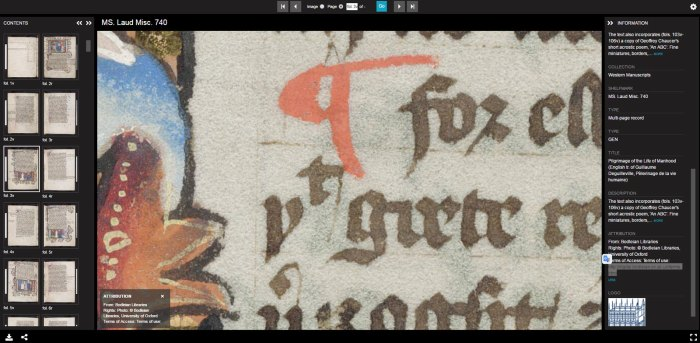 IIIF example from the Bodleian Library