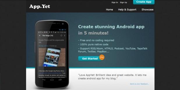 AppYet - App Creator situs untuk membuat aplikasi android gratis