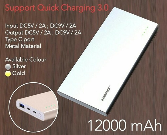 Power Bank Quick Charge 3.0 Terbaik Hippo Zippy 12000 mAh