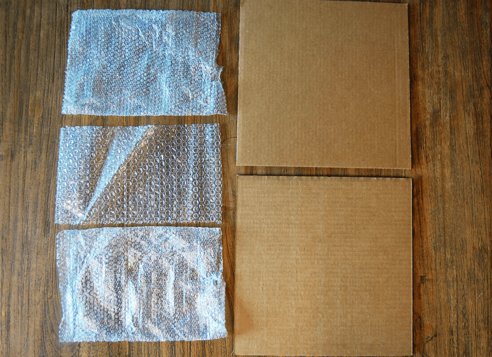 Cardboard and bubblewrap are great for packaging records for shipping