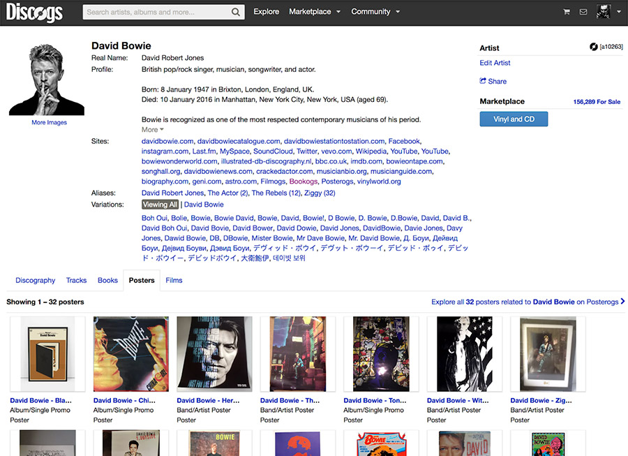 David Bowie Posters on the Discogs Database