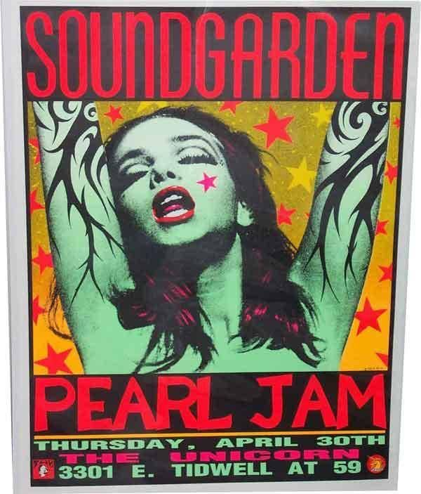 Soundgarden and Pearl Jam Houston 1992 gig poster, also known as Green Lady or Pink Lady poster