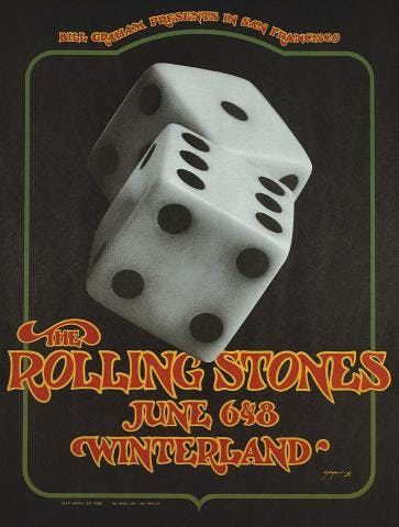 Iconic posters: Rolling Stones San Francisco 1972 dice poster