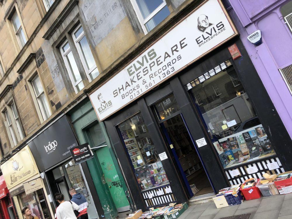 Front entrance of Elivs Shakespeare record shop in Endinburgh, Scotland