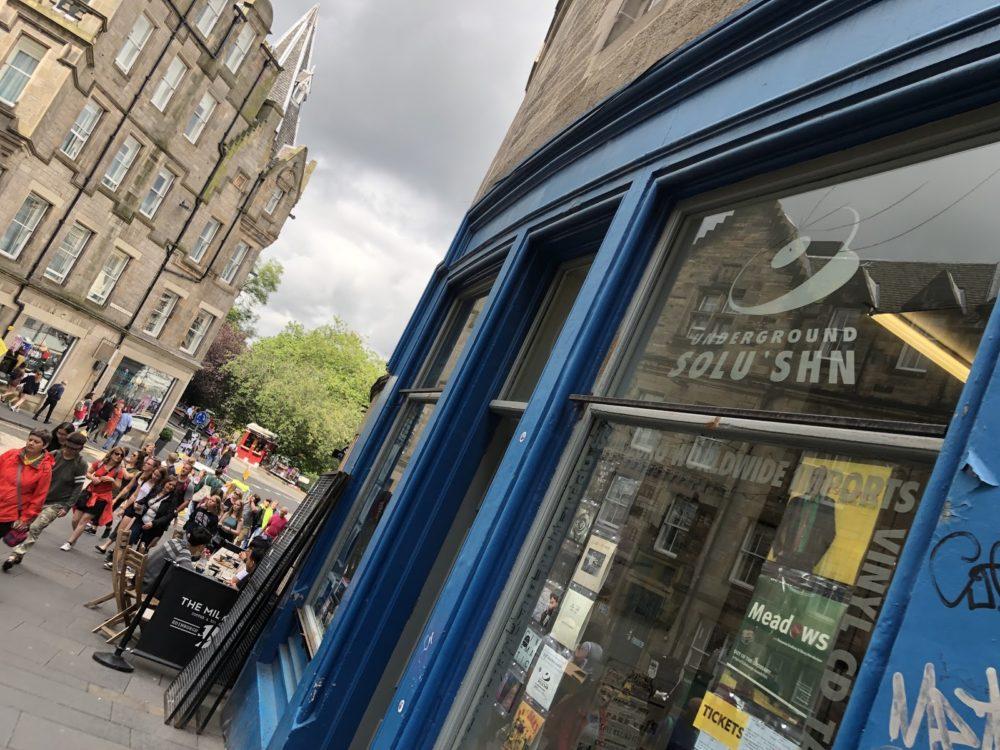 Exterior of Underground Solu'shn record shop in Endinburgh, Scotland