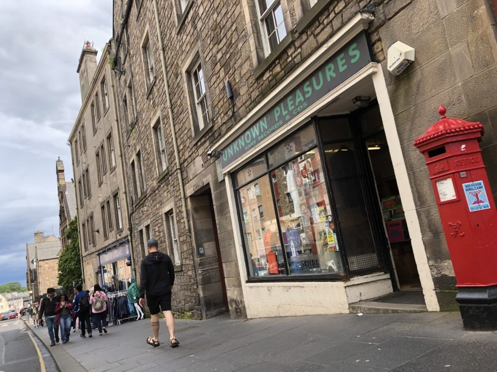 Outside of Unknown Pleasures record shop in Endinburgh, Scotland