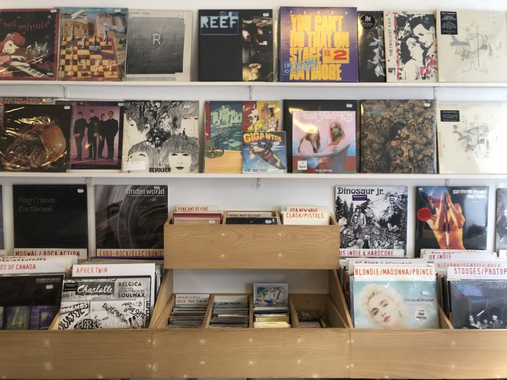 Records displayed inside of Vox Box record shop in Endinburgh, Scotland