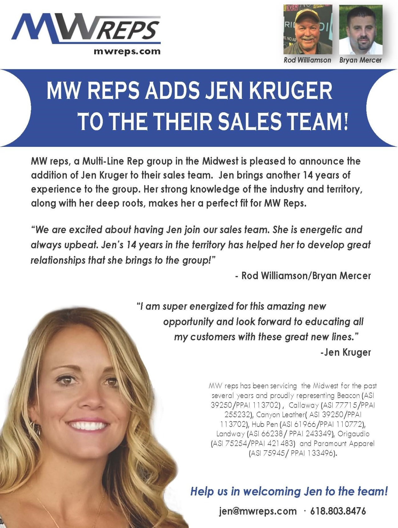 MW Reps Adds Jen Kruger to Their Sales Team