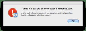 Erreur Nike+ iTunes