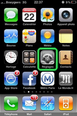 iPhone Réglages