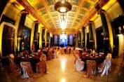 yellow uplighting for wedding