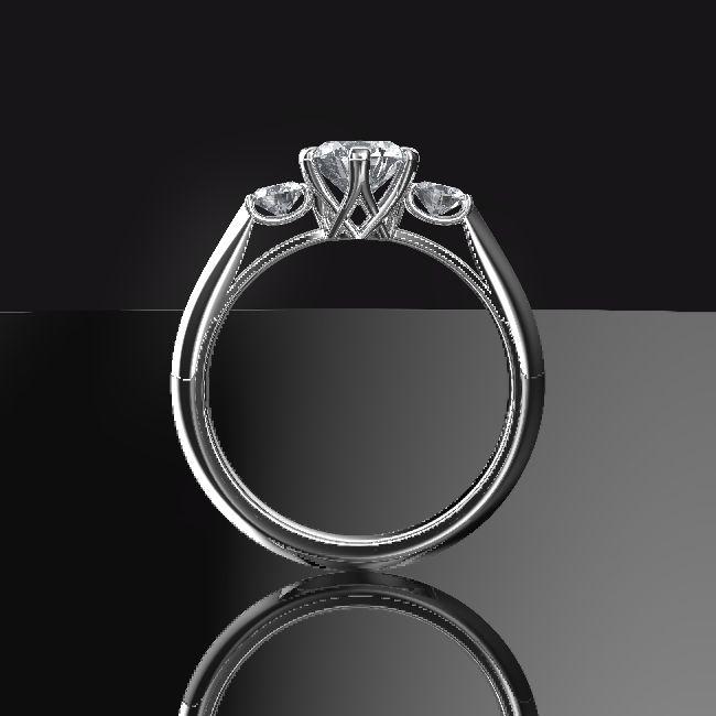 お客様がイラストレーターで作ったデザイン画をもとにして3Dデザイン婚約指輪