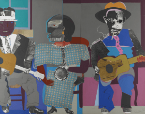 Soul Three, Romare Bearden, 1968, paper and fabric collage on board, Dallas Museum of Art, General Acquisitions Fund and Roberta Coke Camp Fund
