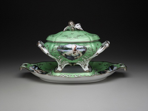 "Cindy Sherman, ""Madame de Pompadour (née Poisson)"" soup tureen with platter, 1990, Ancienne Manufacture Royale de Francem, porcelain with silkscreen transfer and platinum decoration, Dallas Museum of Art, DMA-amfAR Benefit Auction Fund"