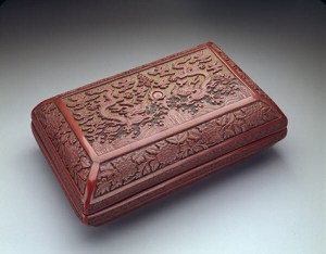 Rectangular box, mark and reign of Emperor Wanli (r. 1573-1619), dated in inscription to 1595, cinnabar lacquer over wood core, Dallas Museum of Art, gift of Mr. and Mrs. George A. Shutt