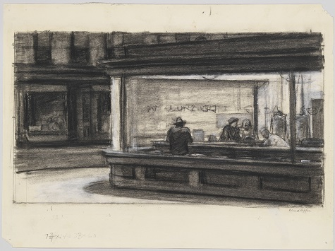 Edward Hopper, Study for Nighthawks, 1942, fabricated chalk and charcoal on paper, Whitney Museum of American Art, New York; purchase and gift of Josephine N. Hopper by exchange 2011.65, © Heirs of Josephine N. Hopper, licensed by the Whitney Museum of American Art, N.Y.