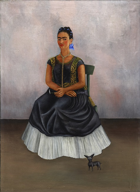Frida Kahlo, Itzicuintli Dog with Me, c. 1938, oil on canvas, Lent by Private Collection