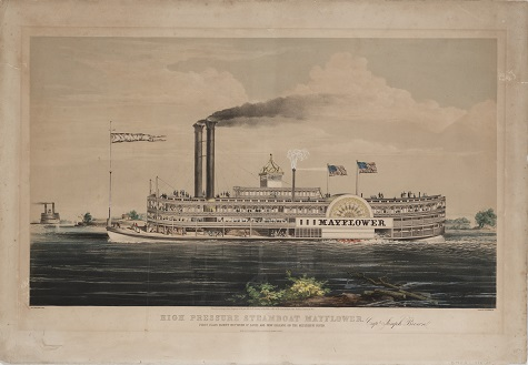 Nathaniel Currier, after Charles Parsons, High Pressure Steamboat Mayflower, 1855, color lithograph, Dallas Museum of Art, Junior League Print Fund