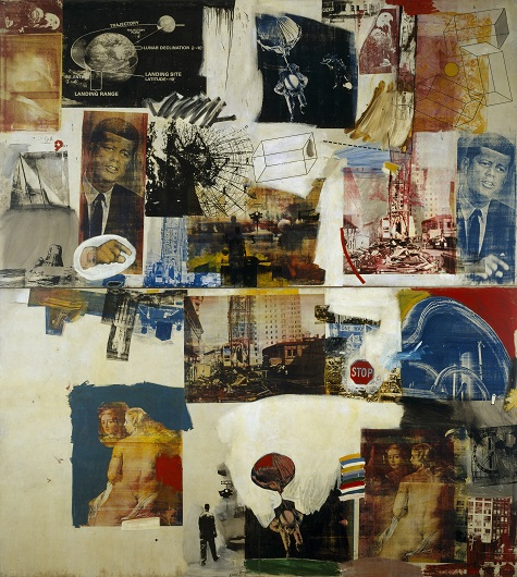 Robert Rauschenberg, Skyway, 1964, oil and silkscreen on canvas, Dallas Museum of Art, The Roberta Coke Camp Fund, The 500, Inc., Mr. and Mrs. Mark Shepherd, Jr., and General Acquisitions Fund, © Rauschenberg Estate/Licensed by VAGA, New York, NY
