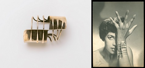 "(left) Art Smith, ""Modern Cuff"" Bracelet, designed circa 1948, silver, Brooklyn Museum, Gift of Charles L. Russell, 2007.61.15; (right) Peter Basch, Model Wearing Art Smith's ""Modern Cuff"" Bracelet, circa 1948, black-and-white photograph, Courtesy of Brooklyn Museum"