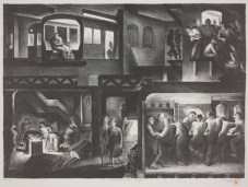 Benton M. Spruance, The People Work - Night, 1937, lithograph, Dallas Museum of Art, General Acquisitions Fund