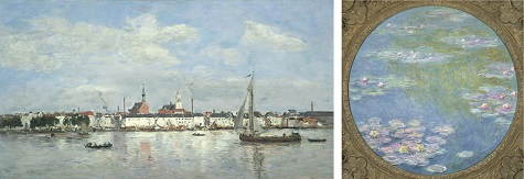 (left to right)Eugène-Louis Boudin, The Quay at Antwerp, 1874, oil on panel, Dallas Museum of Art, gift of the Meadows Foundation, Incorporated; Claude Monet, Water Lilies, 1908, oil on canvas, Dallas Museum of Art, gift of the Meadows Foundation, Incorporated