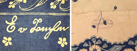 The signature and stamp on the DMA batik by Eliza van Zuylen. Woman's Sarong (details), 1910, Java, Pekalongan, Indonesia, batik on commercial cotton, Dallas Museum of Art, gift of Mr. and Mrs. Jerry Bywaters in memory of Paul and Viola van Katwijk