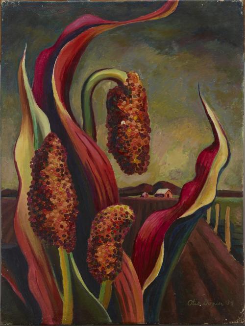 Otis Dozier, Maize and Farmhouse, 1939, oil on Masonite, Dallas Museum of Art, gift of The Dozier Foundation, ©Denni Davis Washburn, William Robert Miegel Jr, and Elizabeth Marie Miegel, 1990.40