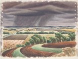 "Edward Bearden, ""Storm on the Plains,"" 1944, watercolor, Dallas Museum of Art, Ted Dealey Purchase Prize, Fifteenth Annual Dallas Allied Arts Exhibition, 1944, 1944.3"